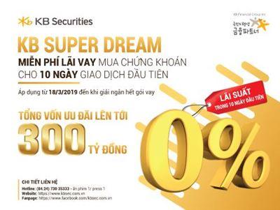 KBSV miễn lãi vay mua chứng khoán cho 10 ngày đầu tiên