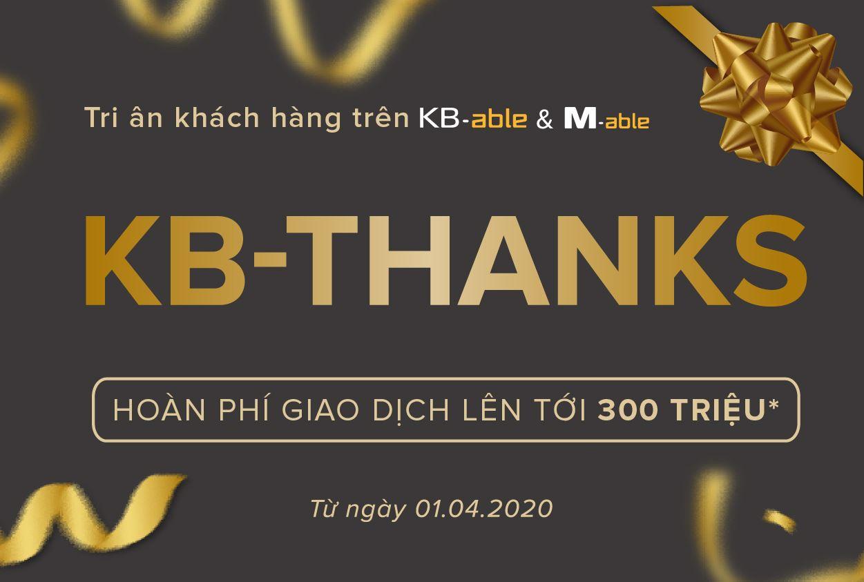 Ưu đãi hoàn phí KB-Thanks